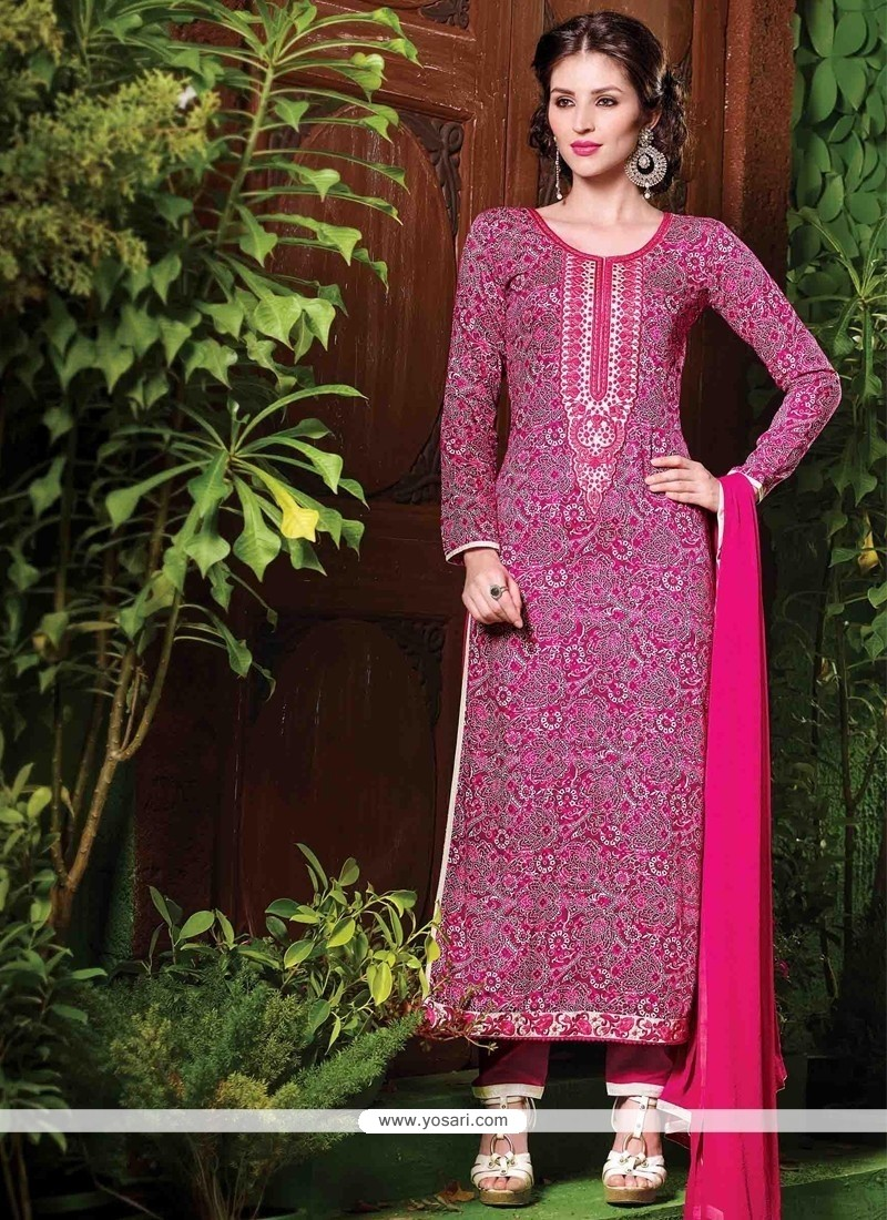 Dignified Embroidered Work Cotton Magenta Salwar Suit