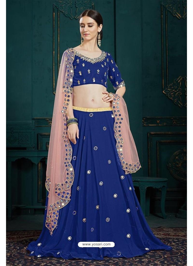 Royal Blue Heavy Multi Embroidered Designer Designer Lehenga Choli