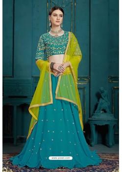 Turquoise Heavy Multi Embroidered Designer Designer Lehenga Choli