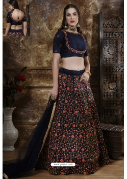 Navy Blue Exclusive Party Wear Designer Lehenga Choli