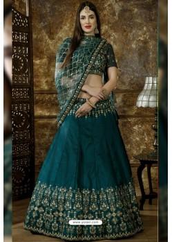 Teal Blue Exclusive Party Wear Designer Lehenga Choli