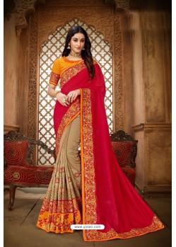 Red Designer Vichitra Silk Party WearᅠSari