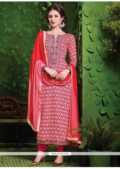 Debonair Lace Work Red Cotton Churidar Salwar Kameez