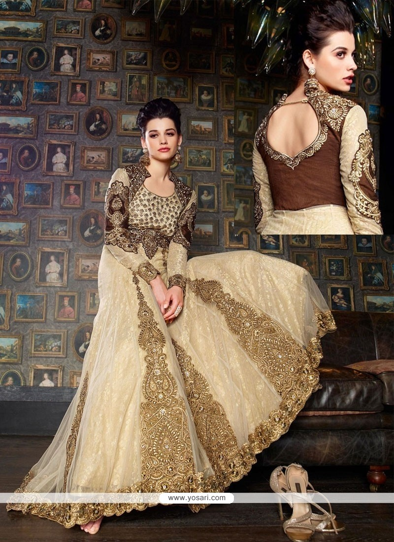 Pretty Cream Net And Jacquard Designer Gown