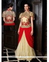 Cream And Maroon Georgette Designer Gown