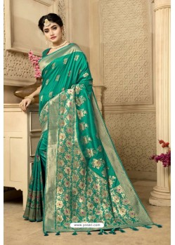 Aqua Mint Designer Banarasi Silk Weaving Party WearᅠSari