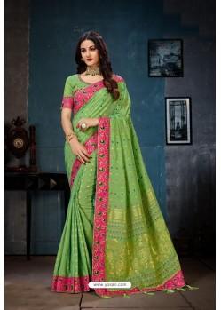 Parrot Green Designer Cotton Linen Party WearᅠSari