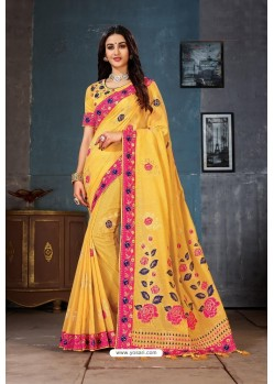 Yellow Designer Cotton Linen Party WearᅠSari
