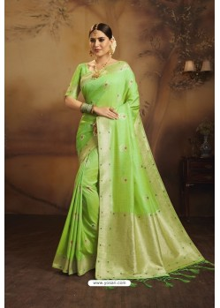Parrot Green Designer Fancy Jacquard Silk Party WearᅠSari