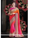 Competent Orange And Pink Shaded Faux Georgette Saree