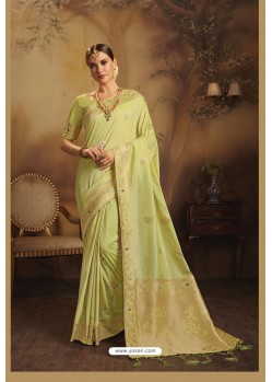 Green Designer Fancy Jacquard Silk Party WearᅠSari