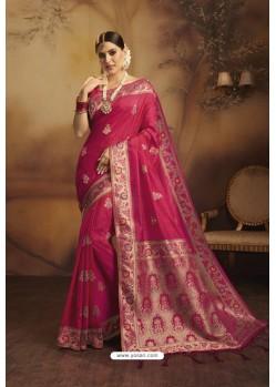 Rose Red Designer Fancy Jacquard Silk Party WearᅠSari
