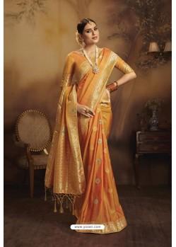 Orange Designer Fancy Jacquard Silk Party WearᅠSari