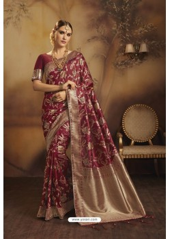 Maroon Designer Fancy Jacquard Silk Party WearᅠSari