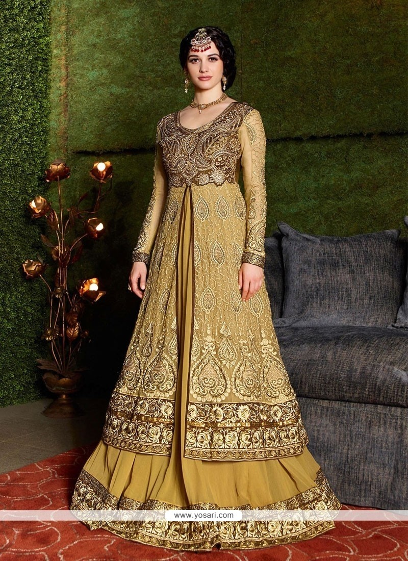 Enthralling Cream Net Designer Gown
