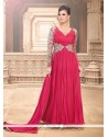 Awesome Pink Chiffon Designer Gown