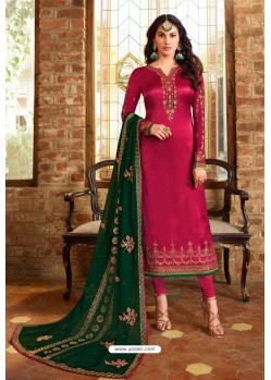 Rose Red Heavy Designer Party Wear Churidar Salwar Suit