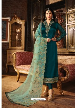 Teal Blue Heavy Designer Party Wear Churidar Salwar Suit