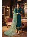 Teal Blue Heavy Designer Party Wear Churidar Salwar Suit