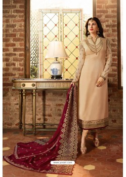 Light Beige Heavy Designer Party Wear Churidar Salwar Suit