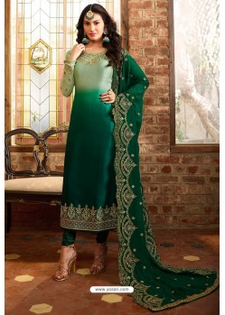 Dark Green Heavy Designer Party Wear Churidar Salwar Suit
