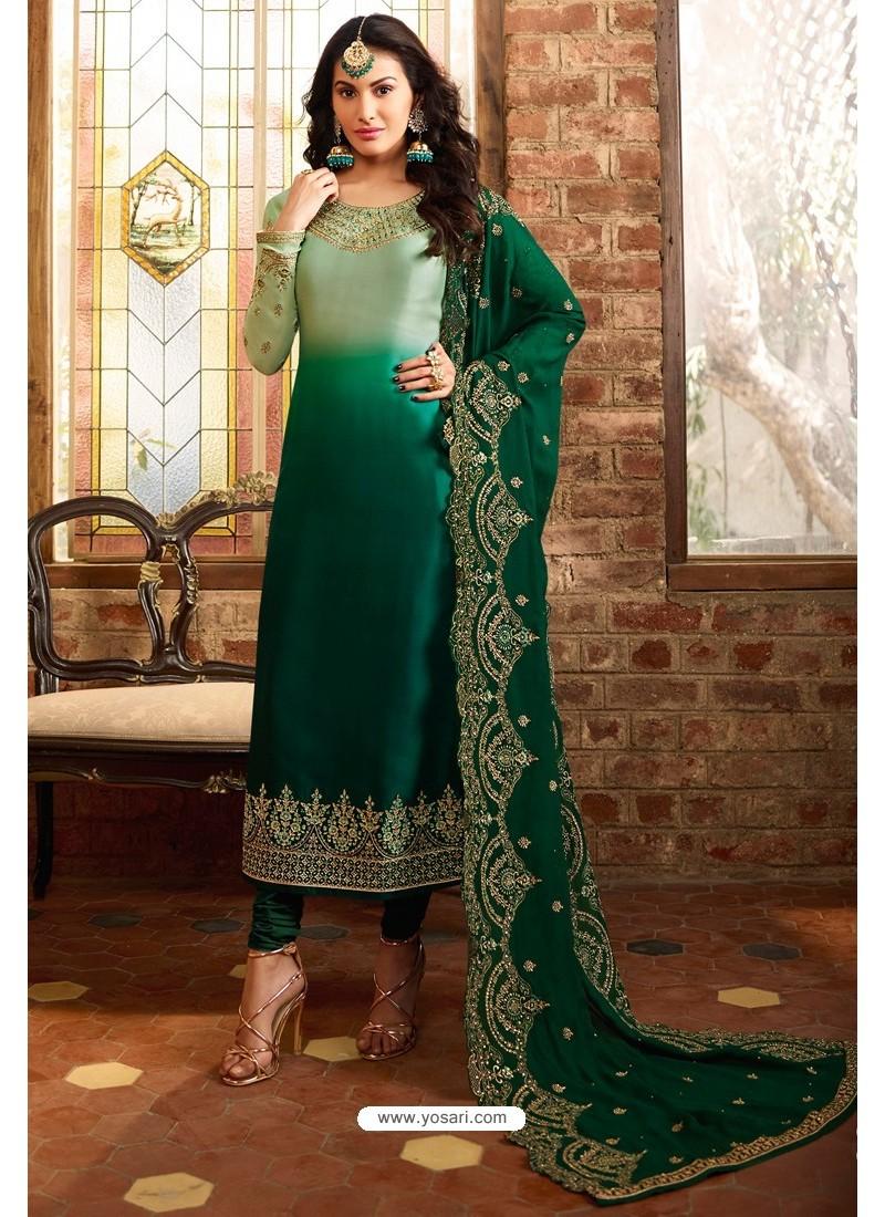 Dark Green Heavy Designer Party Wear Churidar Salwar Suit