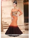 Peach And Brown Net Designer Gown