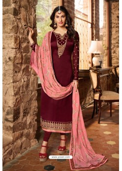 Maroon Heavy Designer Party Wear Churidar Salwar Suit