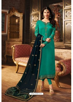 Aqua Mint Heavy Designer Party Wear Churidar Salwar Suit