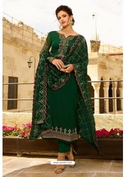 Dark Green Heavy Designer Party Wear Straight Salwar Suit
