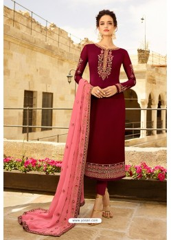 Wine Heavy Designer Party Wear Straight Salwar Suit