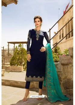 Navy Blue Heavy Designer Party Wear Straight Salwar Suit