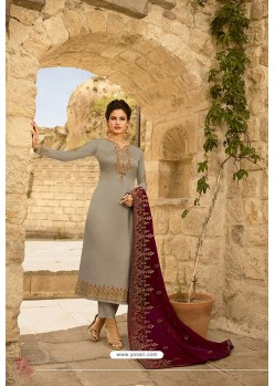 Light Grey Heavy Designer Party Wear Straight Salwar Suit