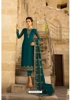 Teal Heavy Designer Party Wear Straight Salwar Suit
