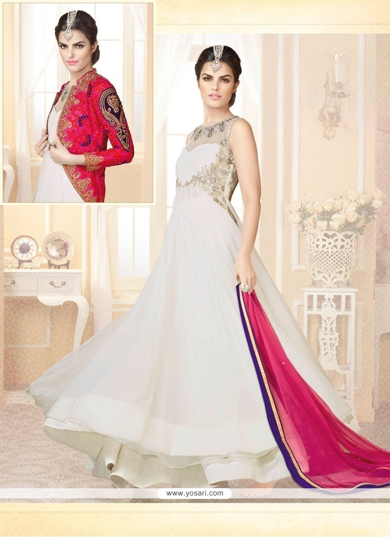 Beautiful White Soft Net Designer Gown
