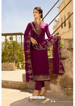 Deep Wine Heavy Designer Party Wear Straight Salwar Suit