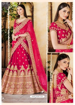 Rose Red Heavy Multi Embroidered Designer Wedding Lehenga Choli
