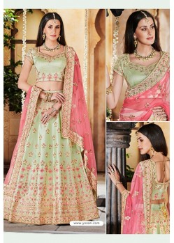 Olive Green Heavy Multi Embroidered Designer Wedding Lehenga Choli