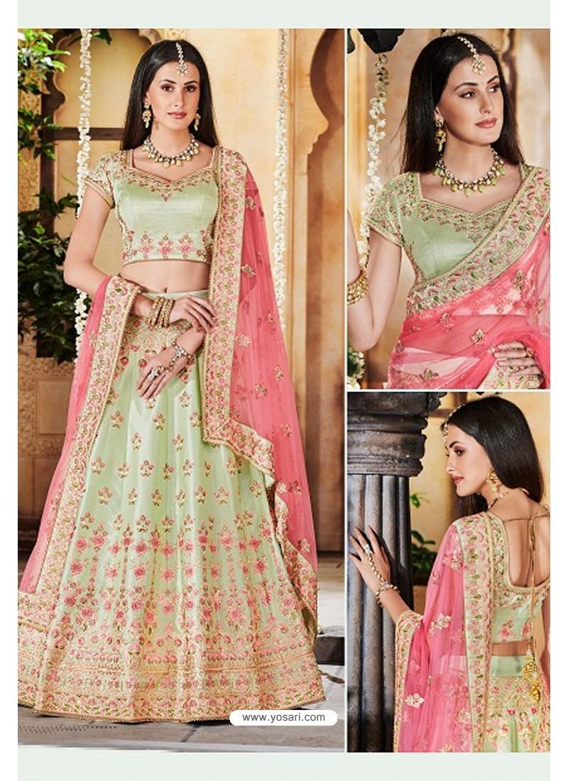 Olive Green Heavy Multi Embroidered Designer Wedding Lehenga Choli
