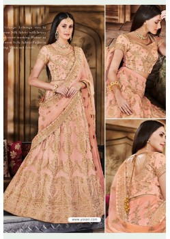 Light Orange Heavy Multi Embroidered Designer Wedding Lehenga Choli