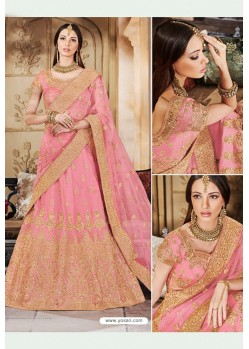 Pink Heavy Multi Embroidered Designer Wedding Lehenga Choli