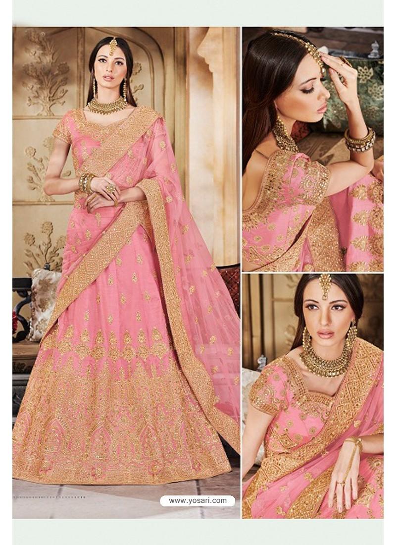 Pink Heavy Multi Embroidered Designer Wedding Lehenga Choli