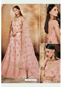 Baby Pink Heavy Multi Embroidered Designer Wedding Lehenga Choli