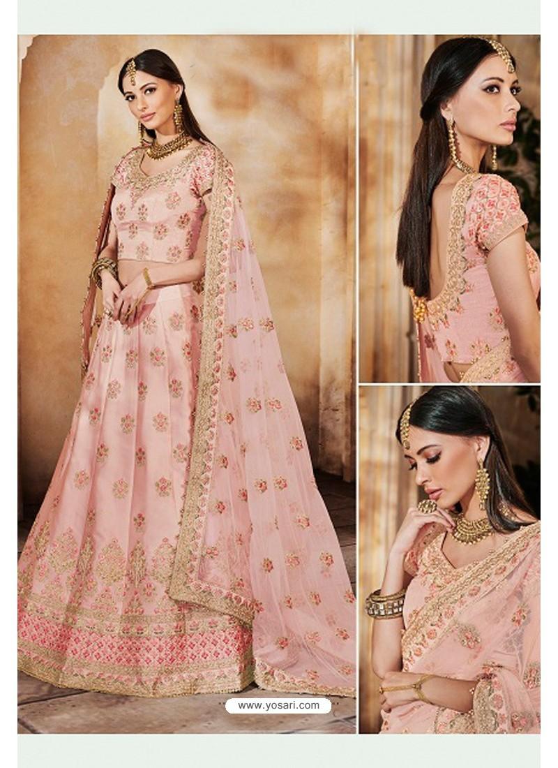 Baby Pink Heavy Multi Embroidered Designer Wedding Lehenga Choli