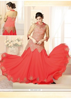 Glorious Peach Georgette And Net Gwon