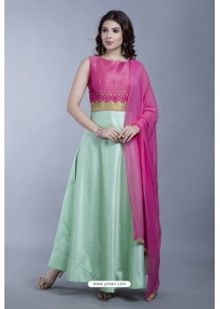 Sea Green Heavy Embroidered Gown Style Designer Anarkali Suit