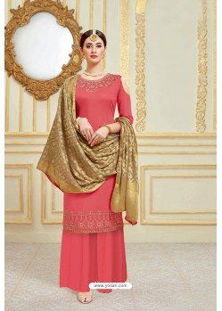 Peach Designer Party Wear Embroidered Pure Jam Satin Palazzo Salwar Suit