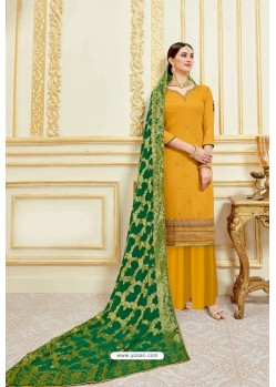 Yellow Designer Party Wear Embroidered Pure Jam Satin Palazzo Salwar Suit
