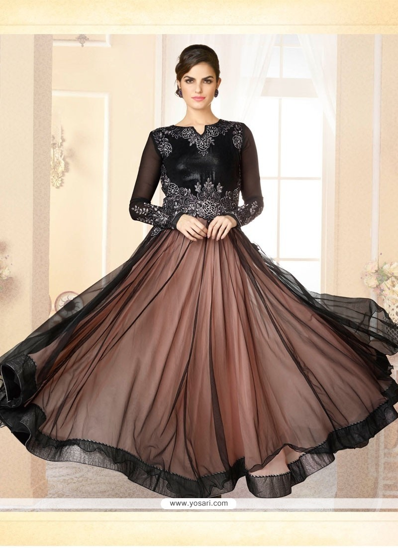 Brown And Black Net Designer Gown