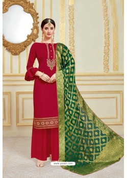 Maroon Designer Party Wear Embroidered Pure Jam Satin Palazzo Salwar Suit